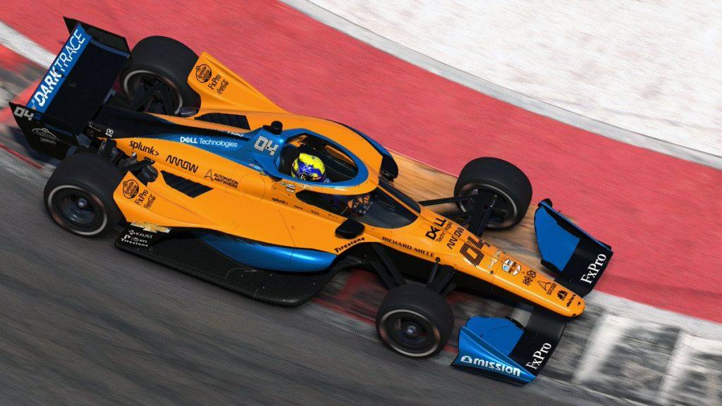 iIndyCar: Lando Norris nyert, McLaren 1-2 a virtuális COTA-n
